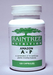 Amazon A-P is a botanical formulation purported to fight against parasite and amebic infections, malaria, trypanosomiasis ans schistosomiasis